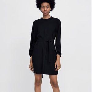 ZARA Puff Sleeve Black Mini Dress Tie Back